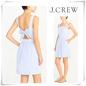 NWT J.Crew Seersucker Apron Tie Bow Striped Dress